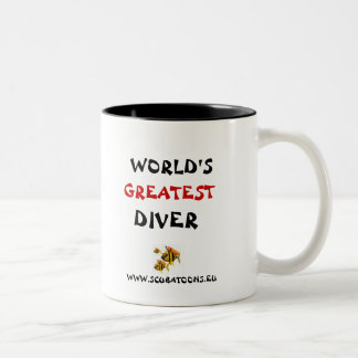 WORLDS GREATEST DIVER Two-Tone COFFEE MUG