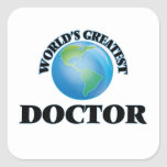 World's Greatest Doctor Square Stickers