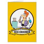 WORLDS GREATEST DOG GROOMER WOMEN CARTOON GREETING CARD