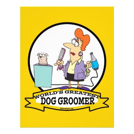 WORLDS GREATEST DOG GROOMER WOMEN CARTOON CUSTOM FLYER