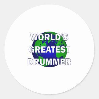 World's Greatest Drummer Round Sticker