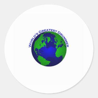 World's Greatest Drummer Round Stickers