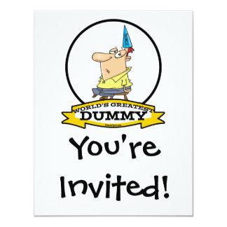 WORLDS GREATEST DUMMY MEN CARTOON 11 CM X 14 CM INVITATION CARD