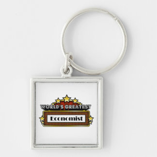 World's Greatest Economist Silver-Colored Square Key Ring