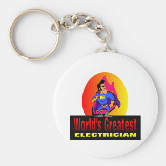 World's Greatest Electrician Basic Round Button Key Ring