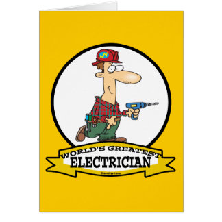 WORLDS GREATEST ELECTRICIAN MEN II CARTOON CARD