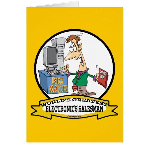 WORLDS GREATEST ELECTRONICS SALESMAN CARTOON GREETING CARD
