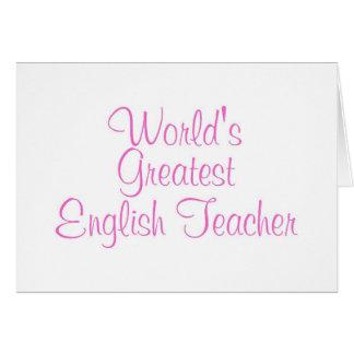 Worlds Greatest English Teacher Pink Greeting Card