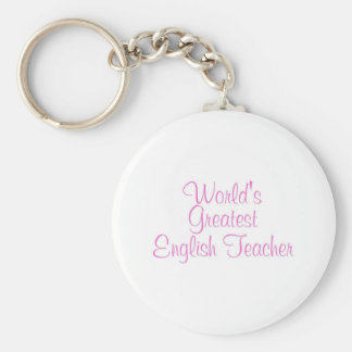 Worlds Greatest English Teacher Pink Basic Round Button Key Ring