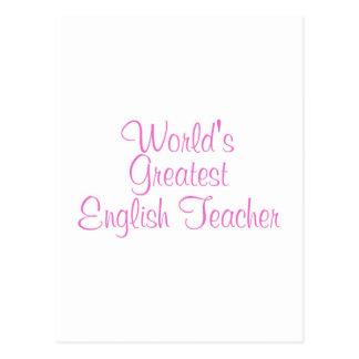 Worlds Greatest English Teacher Pink Postcard