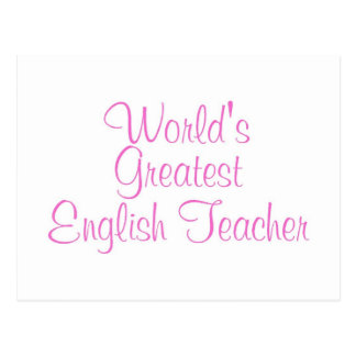 Worlds Greatest English Teacher Pink Post Card