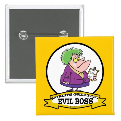 WORLDS GREATEST EVIL BOSS LADY CARTOON 15 CM SQUARE BADGE