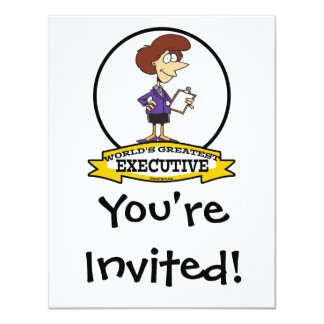 WORLDS GREATEST EXECUTIVE WOMEN CARTOON 11 CM X 14 CM INVITATION CARD