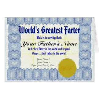 World's Greatest Farter Certificate Father Prank Greeting Card