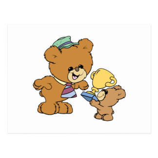 worlds greatest father cute teddy bears design postcard