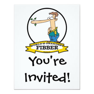WORLDS GREATEST FIBBER MEN CARTOON 11 CM X 14 CM INVITATION CARD