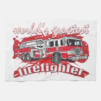 World's Greatest Firefighter Tea Towel