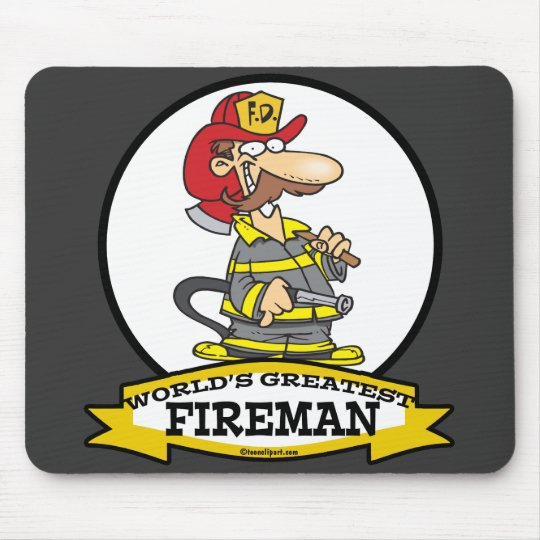 WORLDS GREATEST FIREMAN II MEN  CARTOON MOUSE MAT