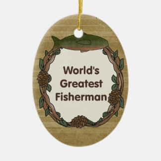 Worlds Greatest Fisherman Funny Fishing Christmas Ornament