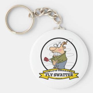 WORLDS GREATEST FLY SWATTER MEN CARTOON BASIC ROUND BUTTON KEY RING