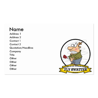 WORLDS GREATEST FLY SWATTER MEN CARTOON PACK OF STANDARD BUSINESS CARDS