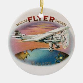 World's Greatest Flyer Vintage Spirit of St. Louis Round Ceramic Decoration