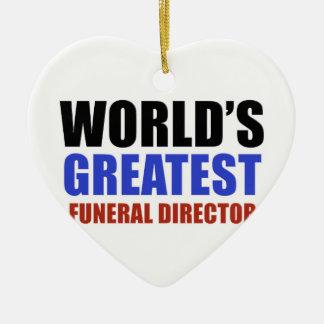World's greatest funeral director ceramic heart decoration