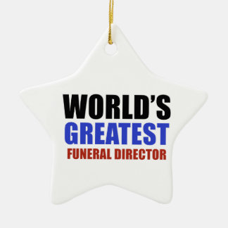 World's greatest funeral director ceramic star decoration