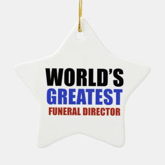 World's greatest funeral director ceramic star decoration