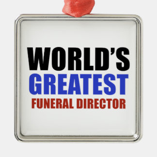 World's greatest funeral director Silver-Colored square decoration