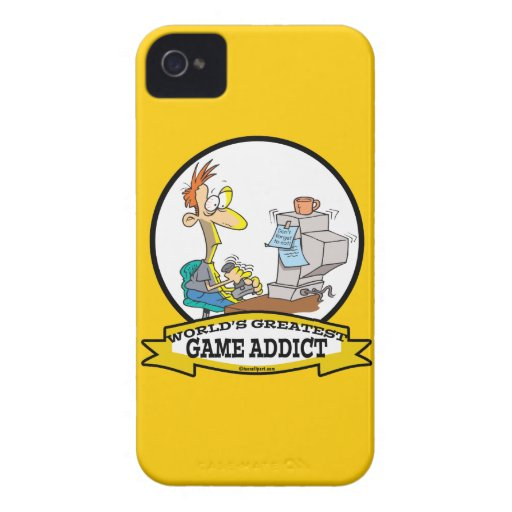 WORLDS GREATEST GAME ADDICT CARTOON iPhone 4 Case-Mate CASES