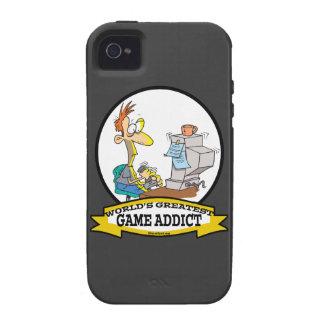 WORLDS GREATEST GAME ADDICT CARTOON Case-Mate iPhone 4 CASES