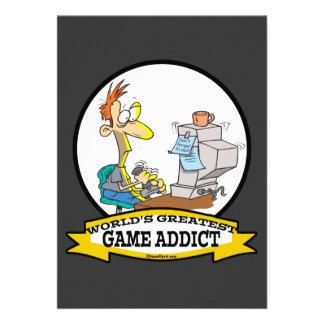 WORLDS GREATEST GAME ADDICT CARTOON PERSONALIZED INVITE