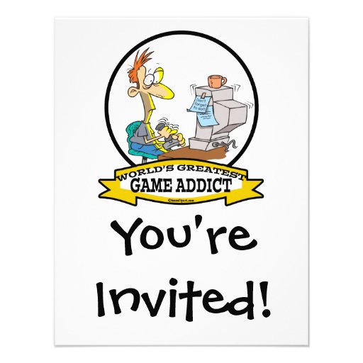 WORLDS GREATEST GAME ADDICT CARTOON ANNOUNCEMENTS