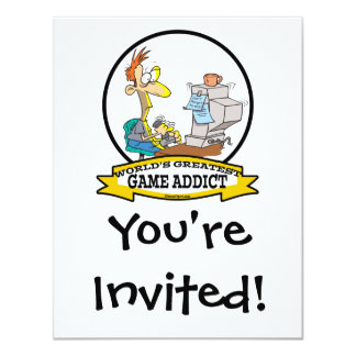 "WORLDS GREATEST GAME ADDICT CARTOON 4.25"" X 5.5"" INVITATION CARD"