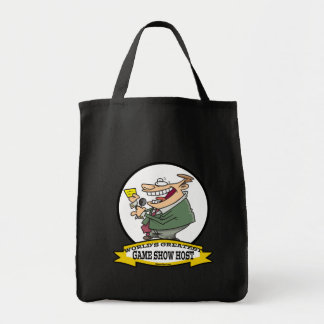 WORLDS GREATEST GAME SHOW HOST CARTOON TOTE BAGS