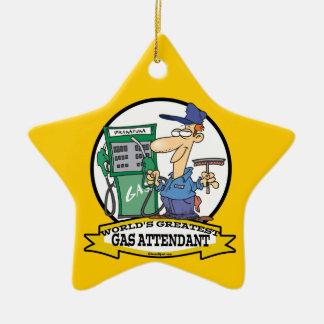WORLDS GREATEST GAS ATTENDANT II CARTOON CERAMIC STAR DECORATION