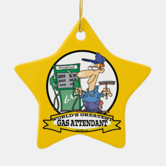 WORLDS GREATEST GAS ATTENDANT II CARTOON CHRISTMAS ORNAMENT