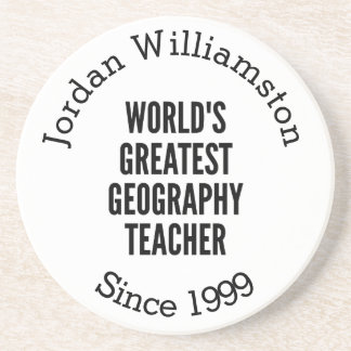 Worlds Greatest Geography Teacher Drink Coaster