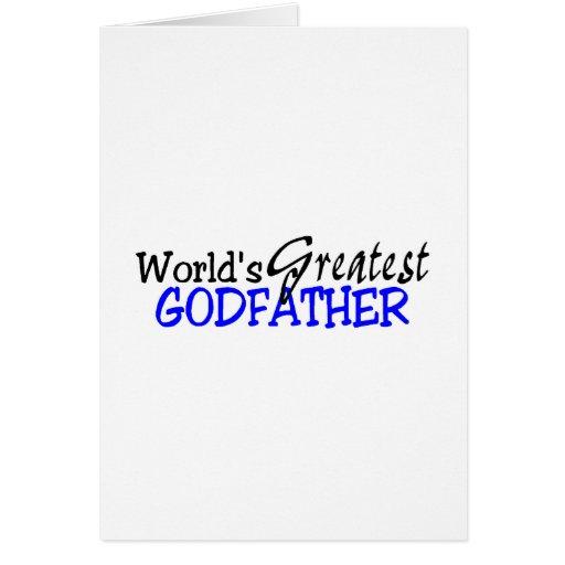 Worlds Greatest Godfather Blue Black Greeting Cards