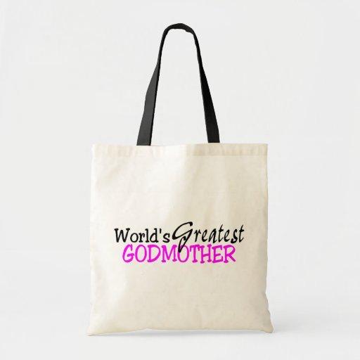 Worlds Greatest Godmother Pink Black Canvas Bag