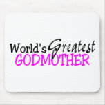 Worlds Greatest Godmother Pink Black Mouse Mat