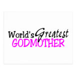 Worlds Greatest Godmother Pink Black Post Card