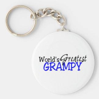 Worlds Greatest Grampy Blue Black Basic Round Button Key Ring