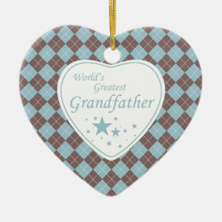World's Greatest grandfather argyle heart ornament