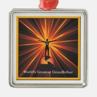 Worlds Greatest Grandfather Golden Award Medallion Silver-Colored Square Decoration