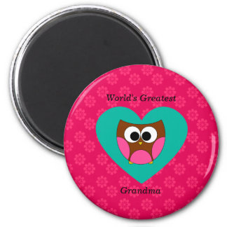 World's greatest grandma cute owl 6 cm round magnet