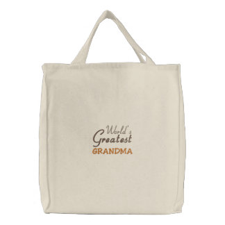 World's Greatest Grandma Embroidered Tote Bag
