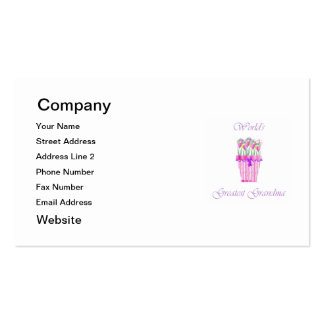 world's greatest grandma (pink flowers) pack of standard business cards