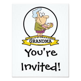 WORLDS GREATEST GRANDMA WOMEN CARTOON 11 CM X 14 CM INVITATION CARD